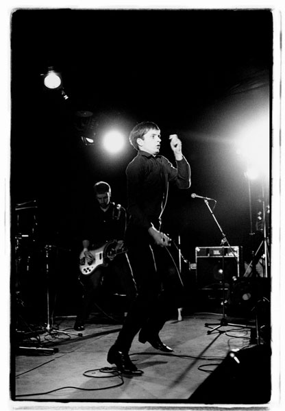 Peter Hook and Ian Curtis. Joy Division. Fac 15: Zoo meets Factory half. Leigh Festival, Lancashire, 27 August 1979