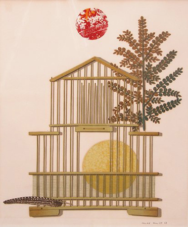Bird cage, feather, branch and sun