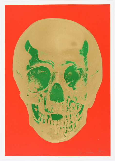 Time Bright Orange African Gold Emerald Green Pop Up Skull
