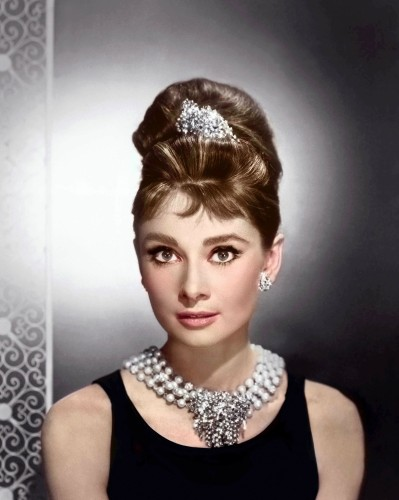 Audrey, - Print with diamond dust