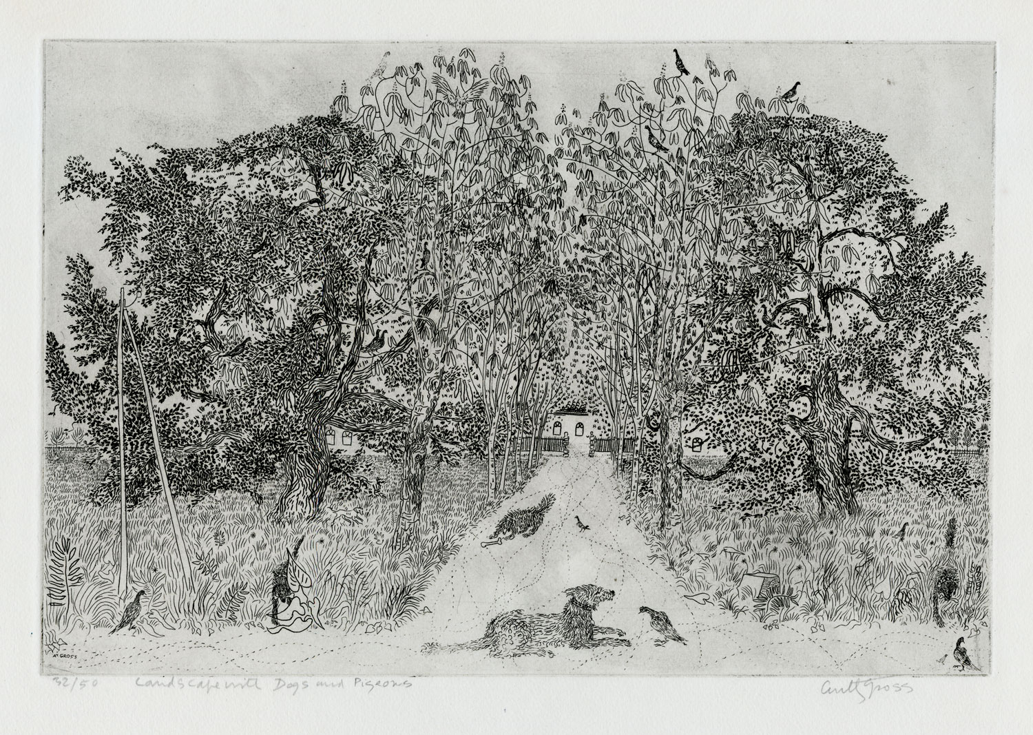 Landscape with Dogs and Pigeons