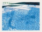 Lithograph of Water Made of Thick and Thin Lines and a Light Blue and Dark Blue Wash - click to enlarge