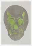 Dove Grey Gunmetal Leaf Green Skull - click to enlarge