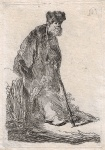 Man in Cloak & Fur Cap, Leaning Against a Bank - click to enlarge