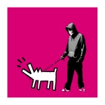 Banksy Choose your Weapon magenta - click to enlarge