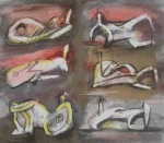 Six Reclining Figures with Red Background - click to enlarge