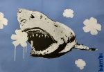 Gold Tooth Shark With White On Blue Flower Power - click to enlarge