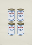 Four Soup Cans (Gold on Cream) - click to enlarge